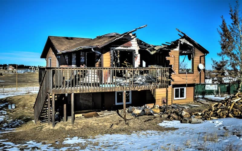 Fire damaged home restoration in Colorado Springs by CMS and FGS - complete loss