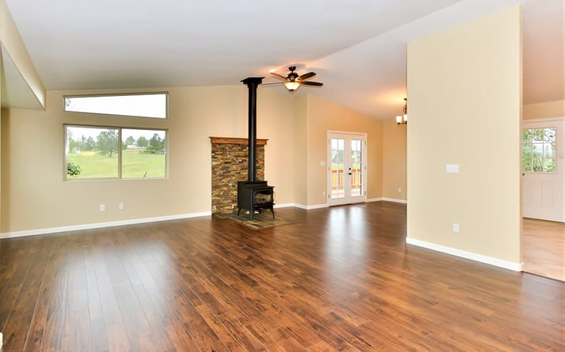 Fire damaged home restoration in Colorado Springs by CMS and FGS - family room completed