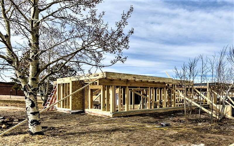 Fire damaged home restoration in Colorado Springs by CMS and FGS - framing of first level