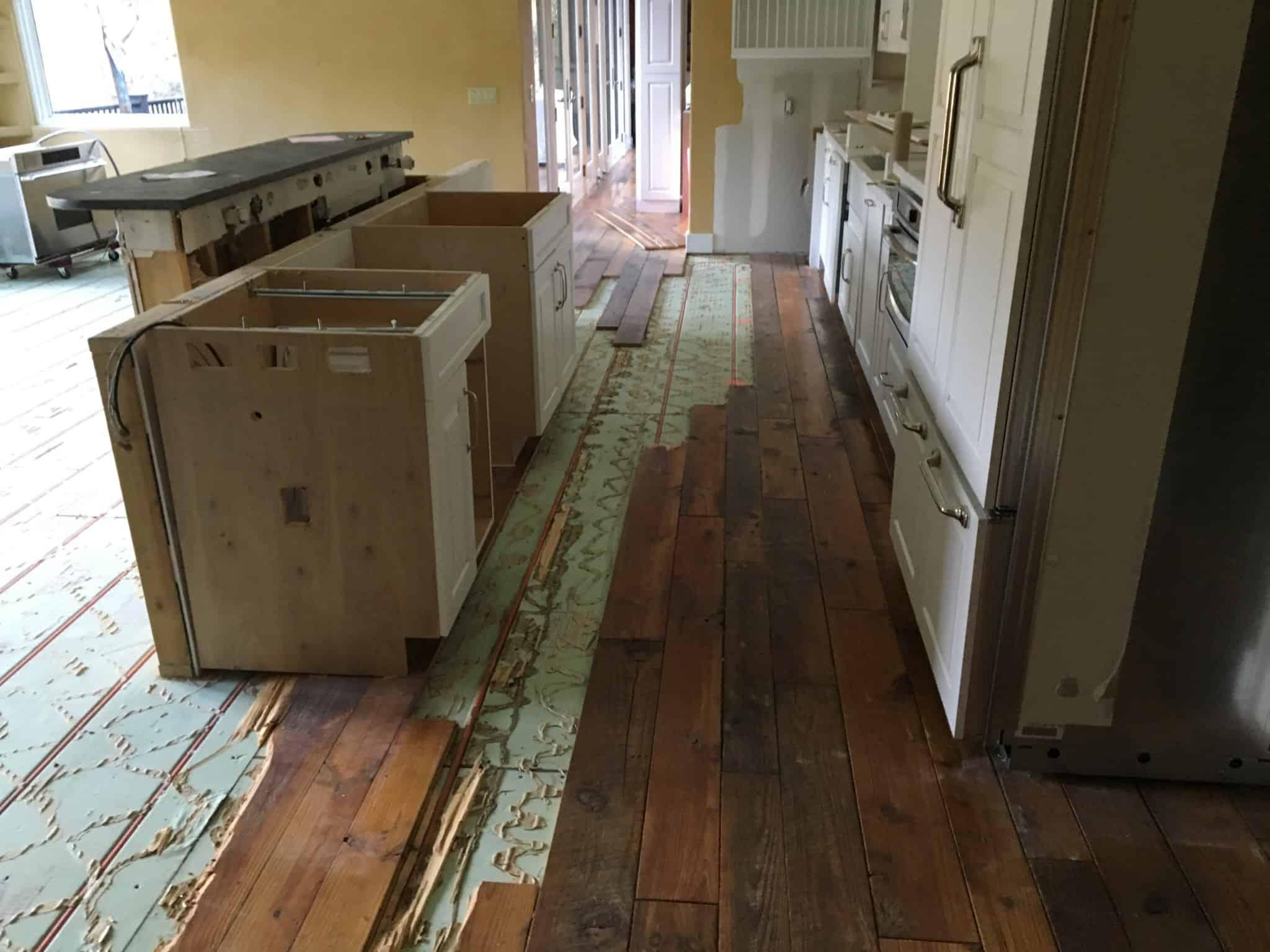 FGS water damage restoration - Kitchen island before, Pine, Colorado